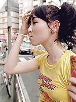Rina Akiyama Asian with sexy lips rubs her cunt of bar outdoor
