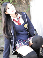 Saemi Shinohara Asian is sexy schoolgirl in uniform and socks
